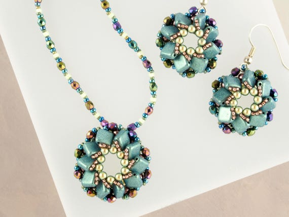 Iridescent Green Mandala Necklace and Spiral Earrings