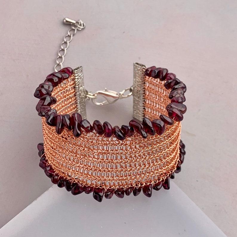 Handmade Mesh Cuff Bracelet Embellished Wide Bracelet with image 0