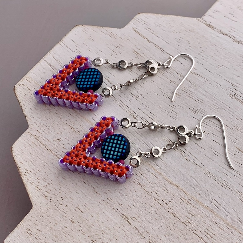 Beadwoven Earrings in Orange and Purple Triangle Seed Bead image 0