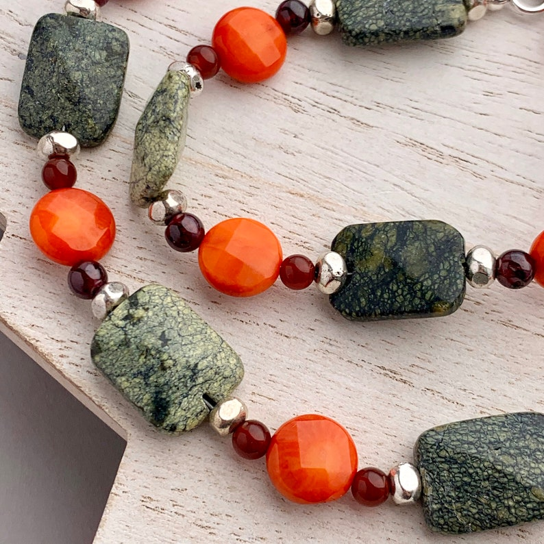 Chunky Green Gemstone Necklace with Red Garnets and Orange image 0
