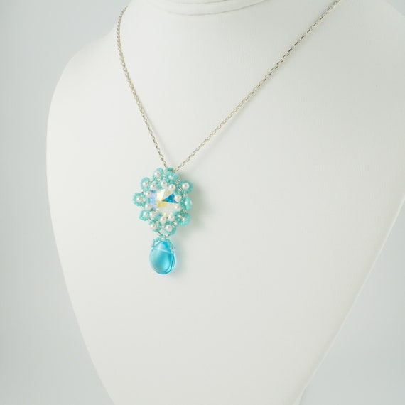 Turquoise Blue and White Beaded Flower Pendant
