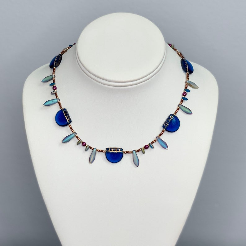 Beaded Dagger Necklace in Blue and Copper Iridescent image 0