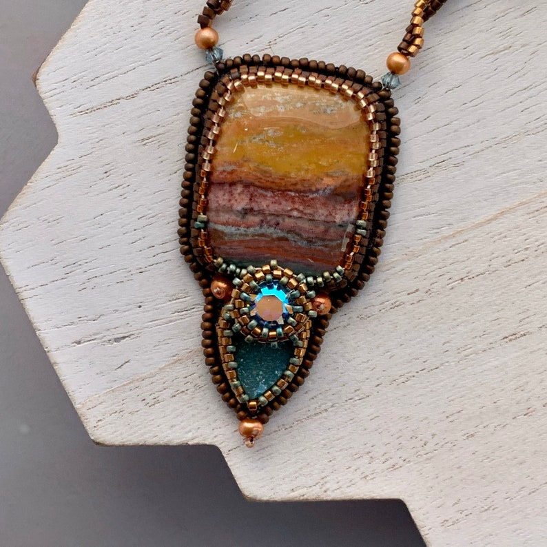 Bead Embroidery Necklace with Bloodstone Gemstone Turquoise image 0