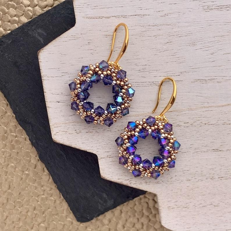 Beadwoven Swarovski Crystal Hoop Earrings in Tanzanite and image 0