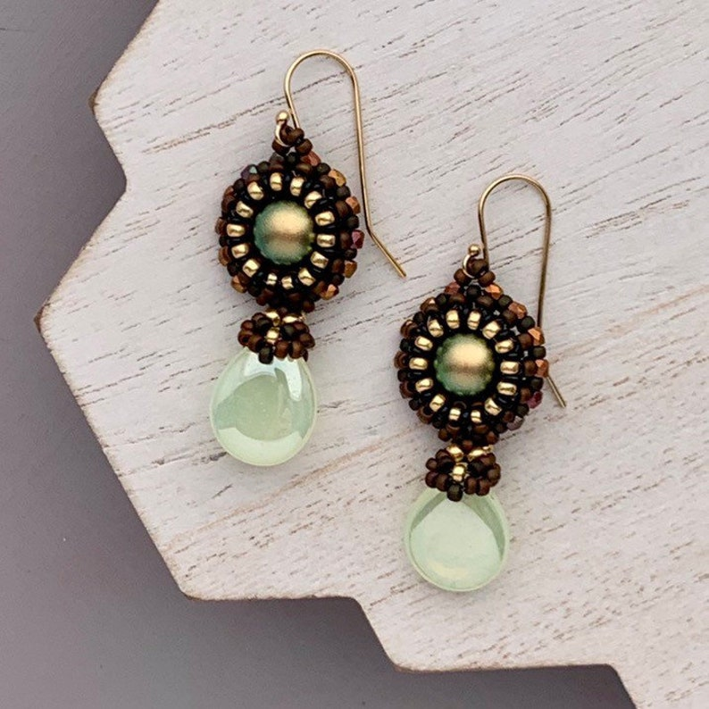 Mint Green Gold and Bronze Swarovski Beaded Drop Earrings image 0