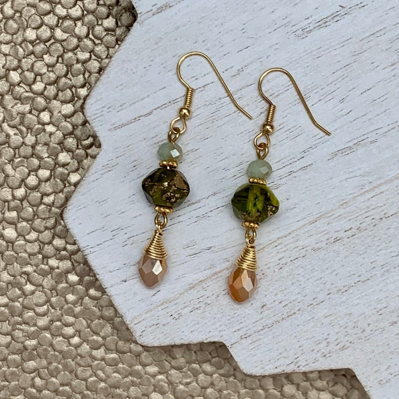 Green and Gold Czech Glass Earrings with Peach Drop Moss image 0