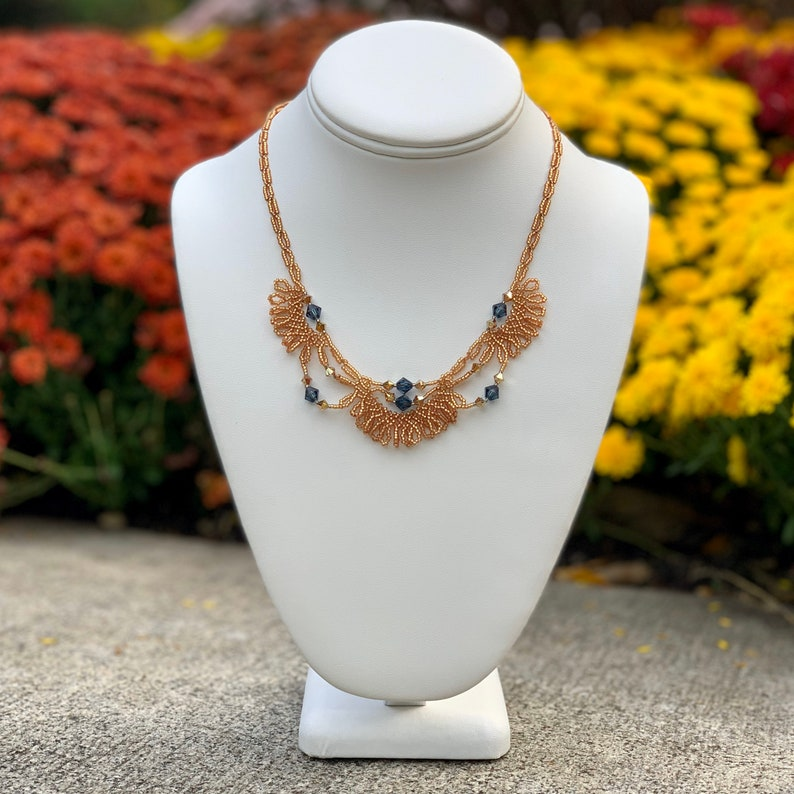 Delicate Beadwoven Necklace in Copper Orange and Indigo Blue image 0