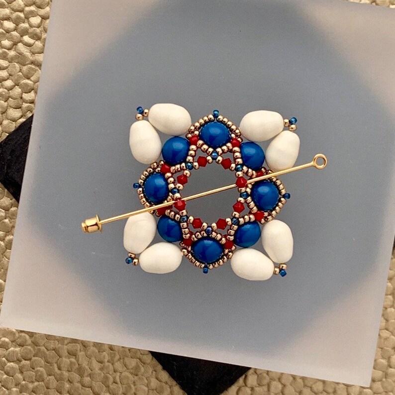 Beaded Shawl Pin Beaded Swarovski Pearl Cloak Clasp in Red image 0
