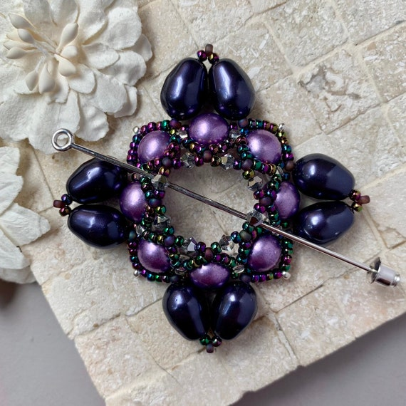 Beaded Swarovski Pearl Shawl Pin in Royal Purple and Lavender