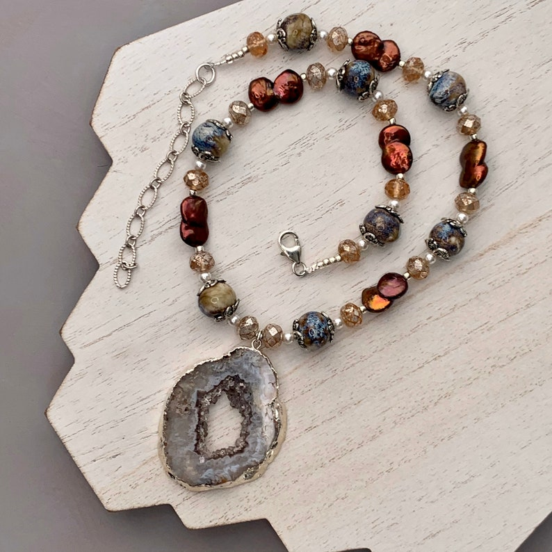 Druzy Pendant with Ceramic Beads and Freshwater Pearls image 0