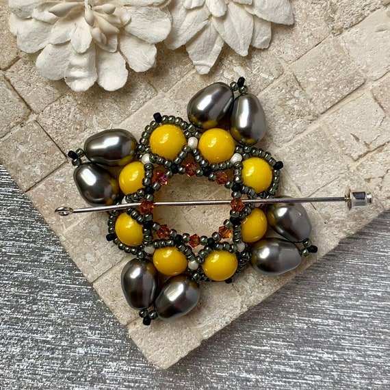 Beaded Swarovski Pearl Shawl Pin in Silver and Yellow