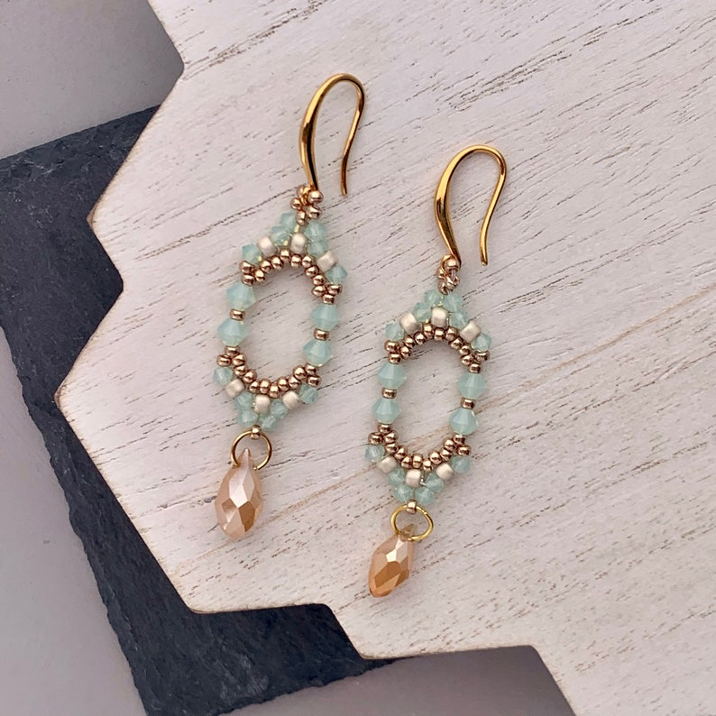 Beadwoven Swarovski Crystal Drop Earrings in Mint Green and image 0
