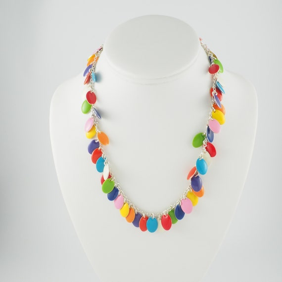 Rainbow Enamel Charm Necklace in Multi Colors