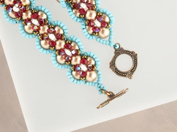 Southwestern Turquoise Gold Red Beaded Bracelet