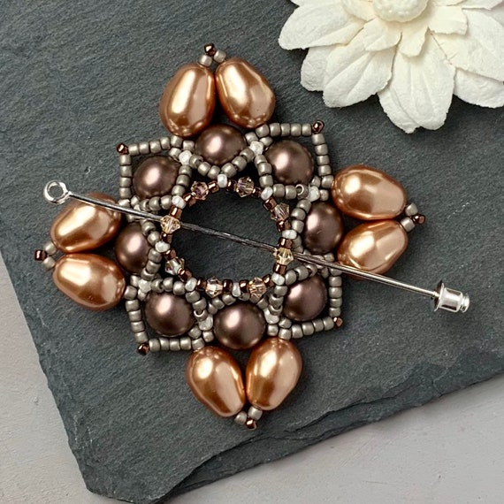 Beaded Swarovski Pearl Shawl Pin in Brown and Gold