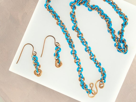 Teal and Bronze Chainmail Necklace