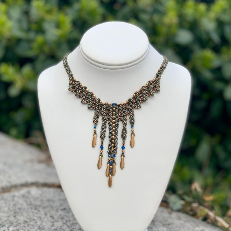 Delicate Beadwoven Necklace Victorian Style Necklace Dagger image 0