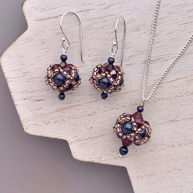 Victorian Style Drop Necklace and Earrings Ruby and Navy image 0
