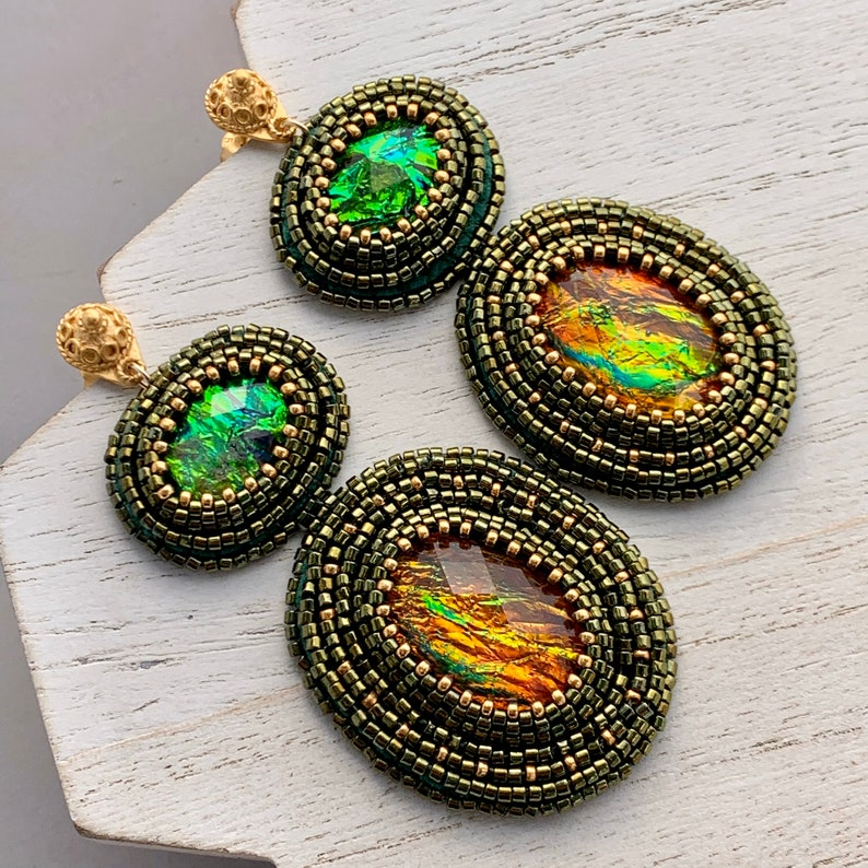 Oversized Green and Gold Bead Embroidery Chandelier Earrings image 0