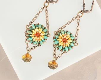 Southwestern Jewelry, Sunflower Earrings, Sundance Boho Earrings, Turquoise Earrings,  Seed Bead Earrings Chandelier Earrings Tribal Jewelry