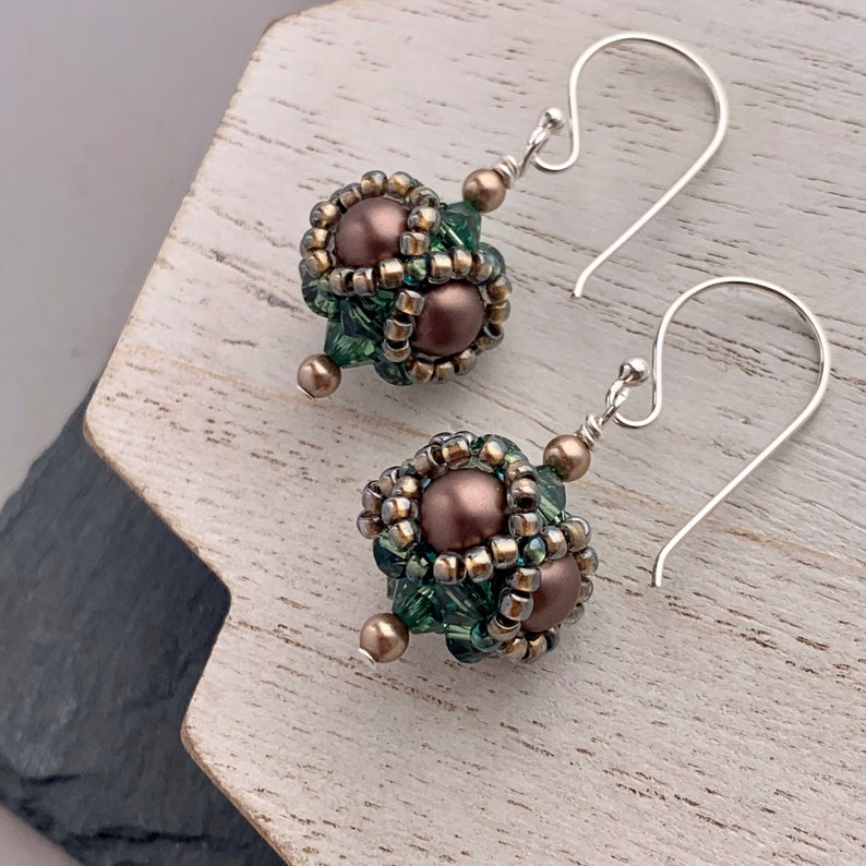 Victorian Style Beaded Earrings Emerald Green Swarovski image 0