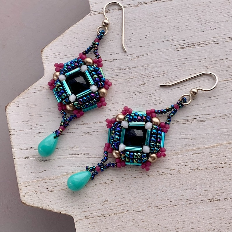 Black and Pink Geometric Beadwoven Earrings with Teal Drop image 0