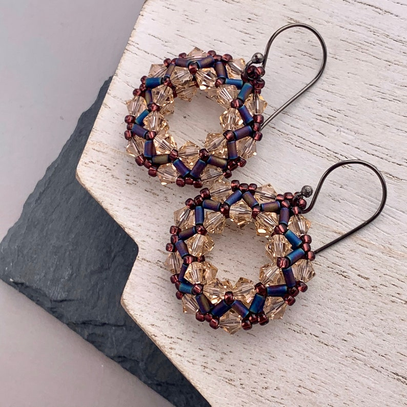Beadwoven Swarovski Crystal Hoop Earrings in Peach Unique image 0