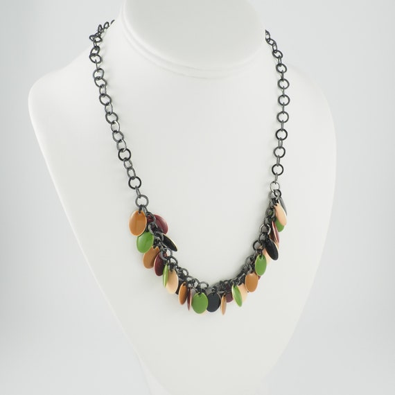 Enamel Charm Necklace in Fall Colors