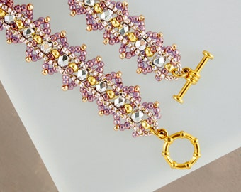 Dainty Bracelet Delicate Bracelet Romantic Gift Vintage Jewelry Crystal Bracelet Rose Gold Bracelet Mom Gift Dusty Rose Victorian