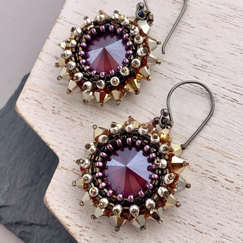 Smokey Deep Red Swarovski Crystal Beadwoven Earrings Gold image 0