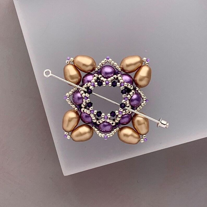 Beaded Shawl Pin Swarovski Pearl Cloak Clasp in Purple image 0