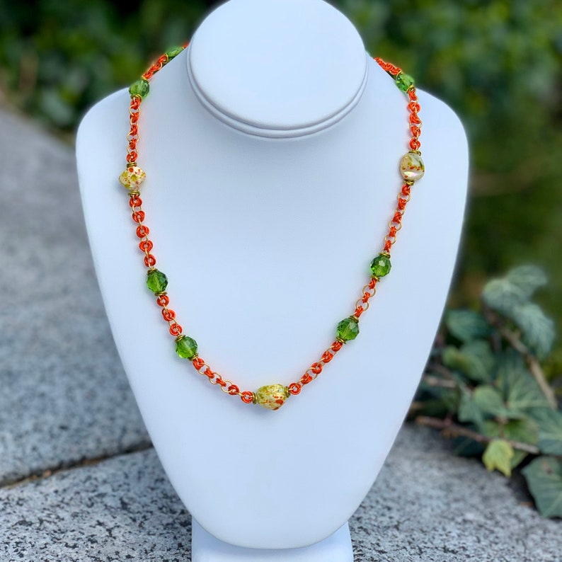 Lime Green and Tangerine Orange Necklace and Earring Set image 0