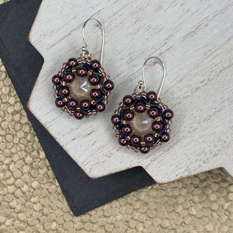 Beadwoven Swarovski Crystal Hoop Earrings in Bronze Unique image 0