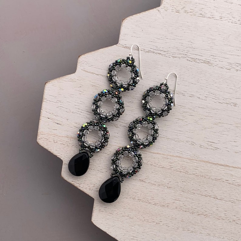 Extra Long Three Hoop Earrings with Black Faceted Drop image 0