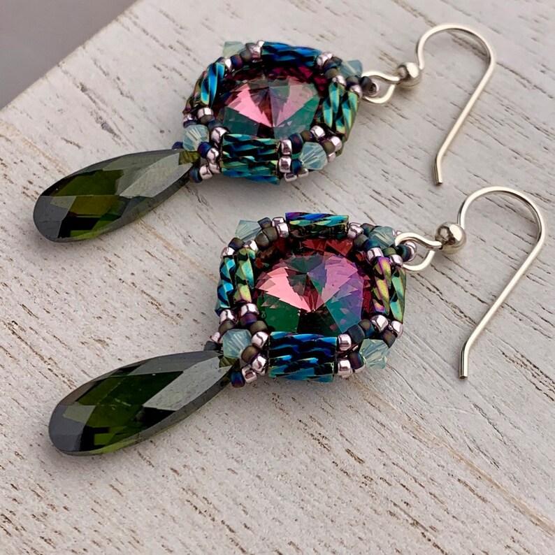 Rose and Emerald Swarovski Crystal Beadwoven Drop Earrings image 0