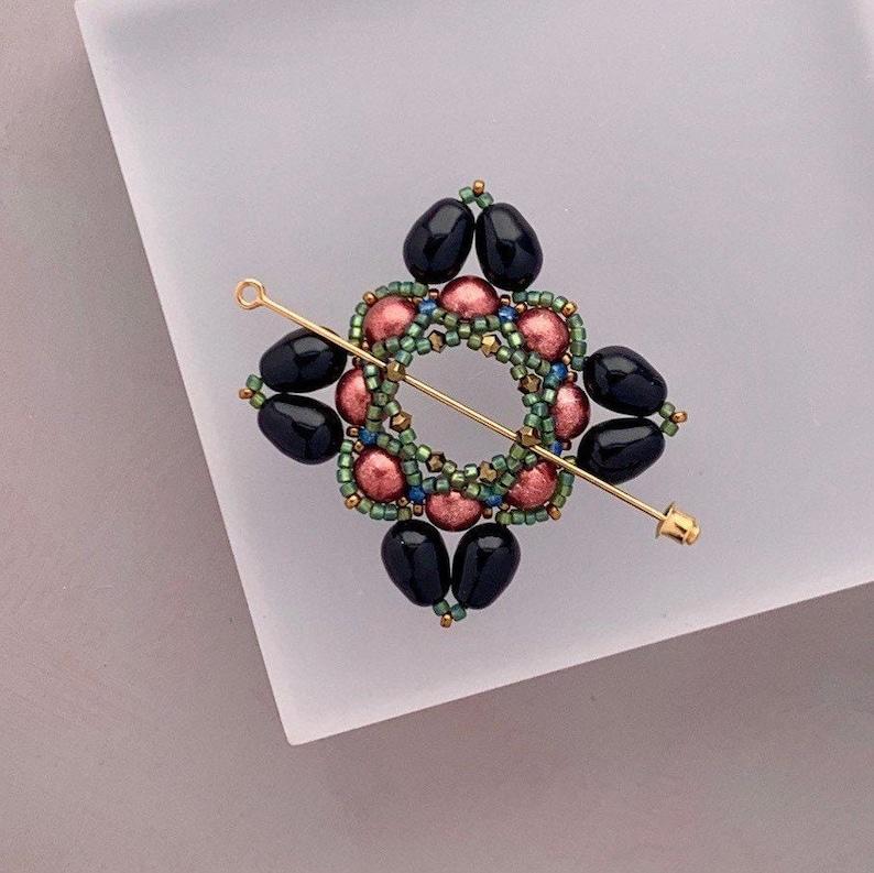 Beaded Shawl Pin Beaded Swarovski Pearl Cloak Clasp in Black image 0