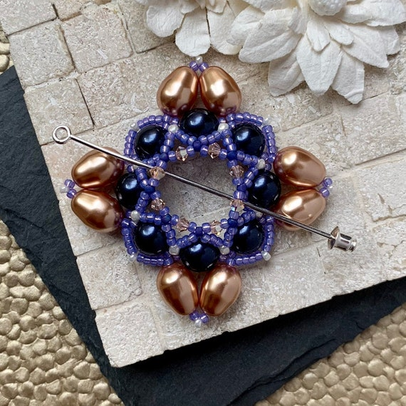 Beaded Swarovski Pearl Shawl Pin in Royal Purple and Bronze