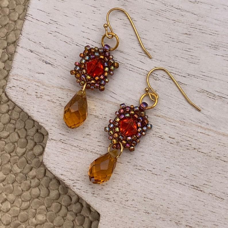 Orange and Copper Beadwoven Earrings Orange Swarovski Crystal image 0