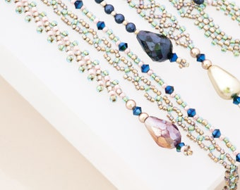 Lariat Necklace Long Necklace Blue Necklace Tassel Charm Swarovski Crystal Necklace Blue Necklace Mom Gift Grandma Gift Iridescent