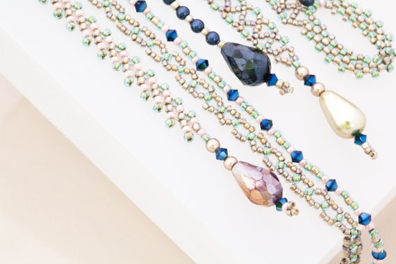 Extra Long Blue and Green Beaded Lariat