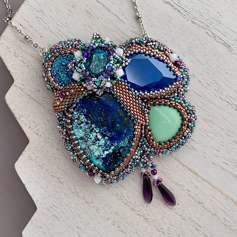 Bead Embroidery Necklace with Shattuckite Gemstone and image 0