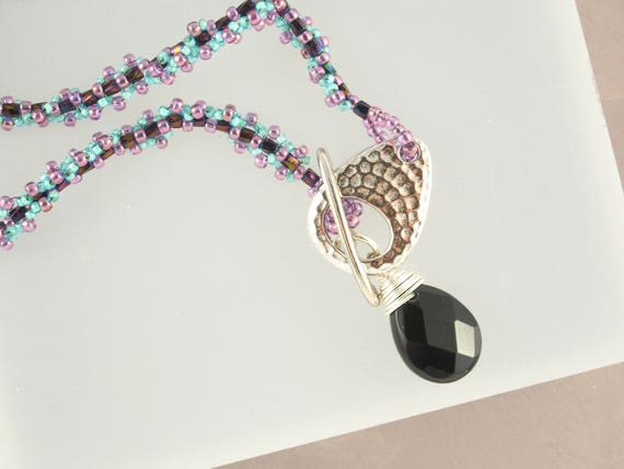 Purple, Teal & Black Stirling Silver Pendant Necklace