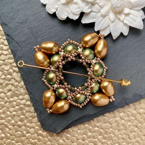 Beaded Swarovski Pearl Shawl Pin in Iridescent Green and Bright Gold