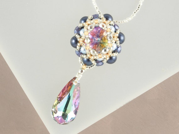 Silver and Blue Crystal Pendant Necklace