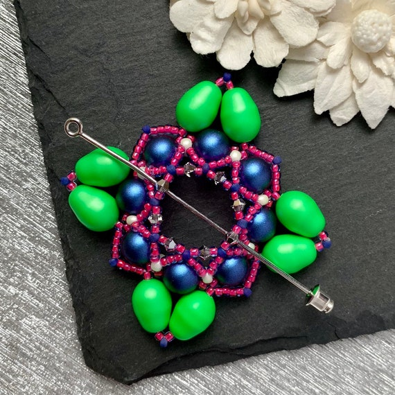 Beaded Swarovski Pearl Shawl Pin in Neon Green and Iridescent Blue