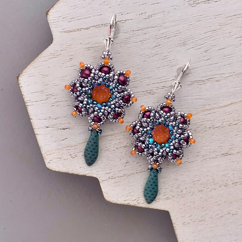 Colorful Swarovski Crystal Seed Bead Earrings Tangerine image 0