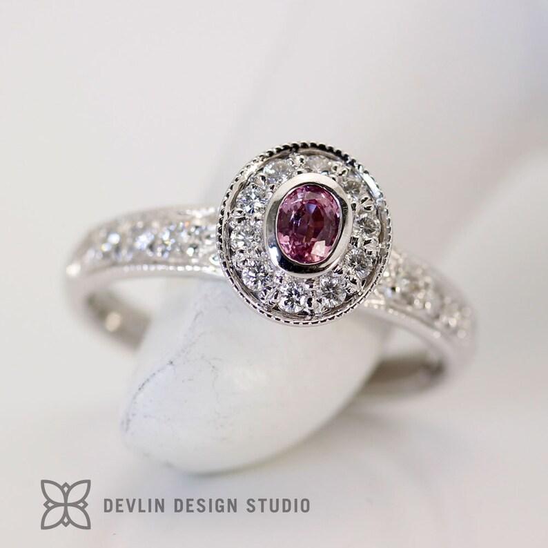 Pink Sapphire Ring diamond halo  milgrain edge image 0