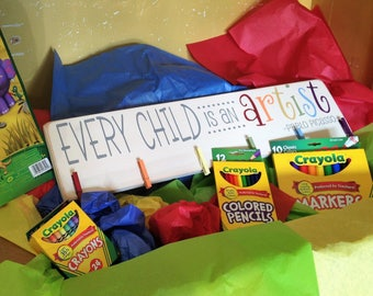 READY TO SHIP Every Child Is An Artist Children's Art Display Board Wood Sign Brag Board Gift Package