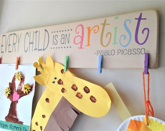 Every Child Is An Artist Children's Art Display Board Wood Sign Brag Board Pastel Version