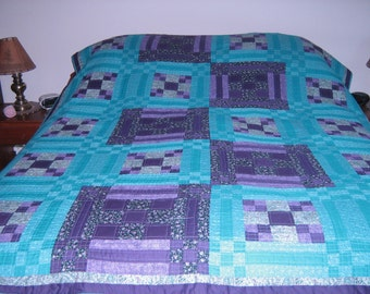 Teal and Purple Print Patchwork Quilt